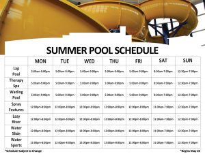 Summer Pool Schedule at The HUB Recreation Center in Marion Illinois