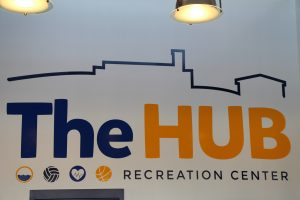 The HUB Recreation Center Decal Behind the Front Desk