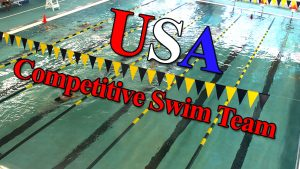 USA Competitive Swim Team text over Lap Pool at The HUB Recreation Center