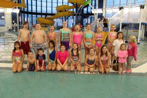 Group of Youth Posing for Picture Swim Party at The HUB Recreation Center in Marion Illinois