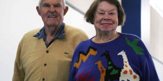 Mary Russell Muchmore Walking the Indoor Track with Her Husband at The HUB Recreation Center