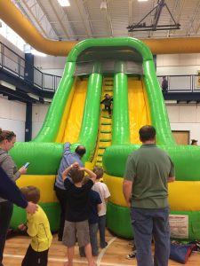 Small Boy Enjoying Inflatable Fun at The HUB Recreation Center in Marion Illinois