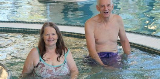 Members Debbie and Frank Lembcke at The HUB Recreation Center in the Lazy River