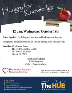 Lunch and Learn Event Flyer at The HUB Recreation Center