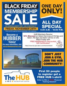 Black Friday Membership Sale Flyer at The HUB Recreation Center