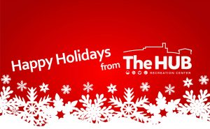 Red Background with White Snowflakes Happy Holidays from The HUB