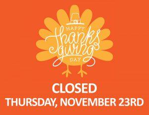 Happy Thanksgiving on an Orange Turkey Closed Thursday, November 23rd