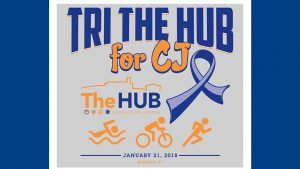 Tri The HUB For CJ at The HUB January 21, 2018 with Colon Cancer Ribbon