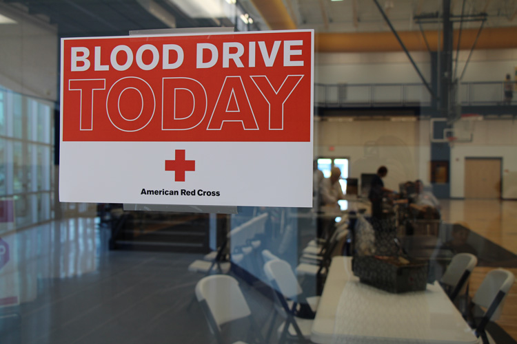Blood Drive Today Sign on the Door