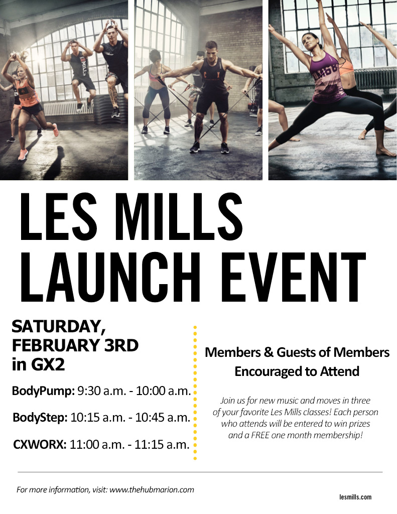 February Les Mills Launch Party The Hub Recreation Center