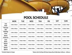 Pool Schedule with Waterslide Picture on Top at The HUB Recreation Center