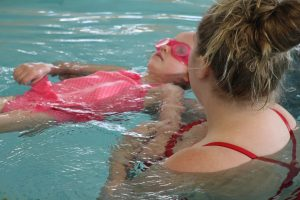 Girl and Swim Instructor at The HUB Recreation Center in Marion Illinois