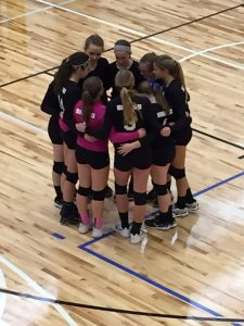 Club Volleyball Girls Huddle at The HUB Recreation Center in Marion Illinois