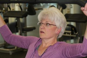 Ruth Langheld Working Out at The HUB Recreation Center