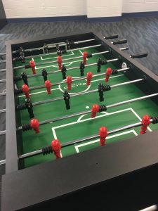 Foosball table at The HUB Recreation Center