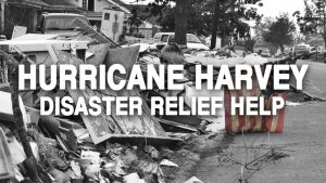 Hurricane Harvey Disaster Relief Help Text Black and White with Colored American Flag