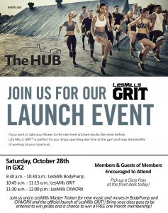 Saturday, October 28th Les Mills Launch Event at The HUB Recreation Center