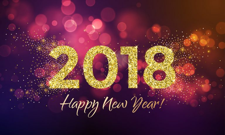 2018 happy new year background texture with gold glitter blur snowflakes. vector greeting text for holiday