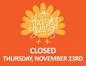 Happy Thanksgiving on an Orange Turkey Closed Thursday, November 23rd