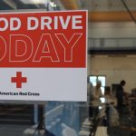 Blood Drive Today Sign on Glass Window at The HUB Recreation Center in Marion, Illinois