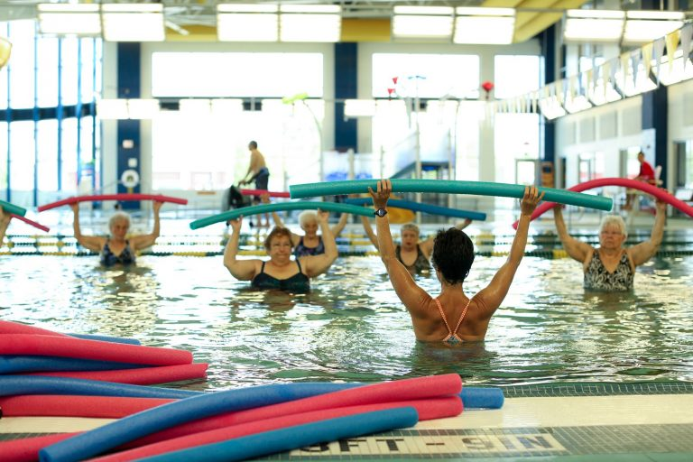 Older Adults in Water Aerobics Class Indoor Pool at The HUB in Marion, Illinois
