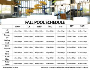 Indoor Water Park Schedule at The HUB Recreation Center in Marion, Illinois